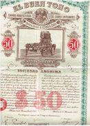 Action Ancienne - El Buen Tono - Titre De 1912 - Mexico - Industrie