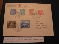 1944 EMISSIONI AUTONOME.LETTER FROM CAMPIONE  D'ITALIA TO BERN.HIGH VALOUR//EMISSIONE AUTONOMA CAMPIONE - 1900-44 Victor Emmanuel III