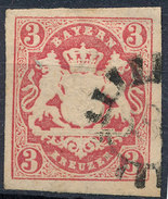 Stamp German States Bavaria 3kr 1867 Used Lot#45 - Bavaria