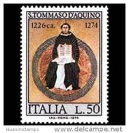 ITALY 1974 - Scott# 1164 Philosopher Aquinas Set Of 1 MNH (XG024) - 1971-80: Mint/hinged