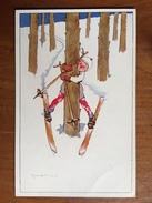(ski) Un Débutant Arrêté Dans Un Arbre. Carte Signée (illisible), TBE. - Illustrateurs & Photographes