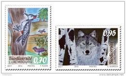 Luxembourg 2016 Mih. 2100/01 Children's Drawings. Biodiversity. Fauna. Wolf. Birds. Woodpecker MNH ** - Neufs