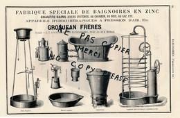 Pub 1879 Fabrique De Baignoires En Zinc Chauffe Bains Lessiveuse  GROSJEAN Frères Baignoire DELAROCHE Hydrothérapie - Publicités