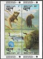 Bhutan 1993 Environment Protection Red Panda Bear Black Necked Crane One Horned Rhinocerus,  1 SS Mnh - Rhinozerosse