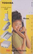 Rare Télécarte Japon / 110-116381 - FEMME - Pub TOSHIBA Adv - TELEPHONE TEC - Girl Woman Japan Phonecard - FRAU TK 3293 - Téléphones