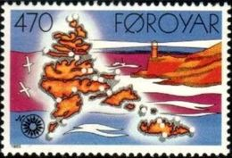 Lighthouse, Map Of Locations, Faroe Islands Stamp SC#133 MNH - Féroé (Iles)