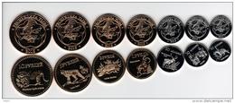 Tuva Region 7 Coins Set UNC Animals - Rusia