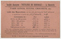 """LA BOUVERIE - Carte - Entier Postal Publicitaire Société Anonyme """"Tréfilerie Du Borinage"""" 1929 - Frameries"""