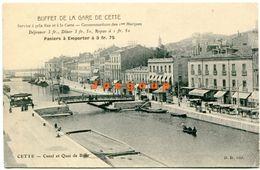 Postale Buffet De La Gare Canal Et Quai De Boso Cette Sete Herault France - Montpellier