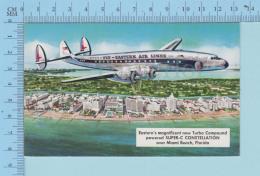 Miami Beach Florida - Eastern Air Lines, Turbo Compound Airplane -postcard Carte Postale - 1946-....: Modern Era