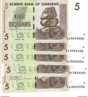 ZIMBABWE 5 DOLLARS 2007 P-66 UNC [ZW157a] 5 PCS - Simbabwe