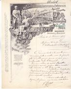 Paris Imprimerie E  PICHOT, 72 Quai De Jemmapes, Très Belle Lettre Illustrée De 1895. TB état. - France