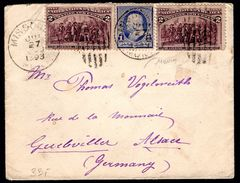 1893 U.S - Columbus 2c X 2 On Transatlantic Cover To Germany - Covers & Documents
