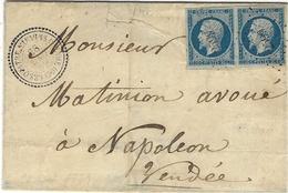 1859- Lettre   De Les 4 Chemins /de L'Oie  ( Vendée )  Cad T22  Affr. Paire N°14 Oblit. Pc 2599   Pour Napoléon,Vendée - Poststempel (Briefe)