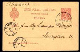 Espagne España Spain - 1896 10c Entier Postal  Entero Postal – ERROR Ccc En Direccion Ver Allemagne - Variétés & Curiosités