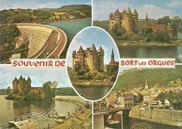19   Souvenir BORT LES ORGUES Multivues , Le Chateau  Le Barrage Le Village   Multi Vues - Autres Communes