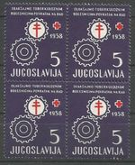 Yugoslavia,TBC 1958.,block Of Four,MNH - Unused Stamps