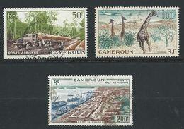 CAMEROUN 1955 . Poste Aérienne N°s 46 , 47 Et 48 . Oblitérés . - Poste Aérienne