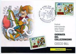 660> CARTOLINA Di JACOVITTI Con COCCO BILL = FDC Francobollo Giornata Del Collezionismo - Roma 23 OTTOBRE 2009 - Fumetti