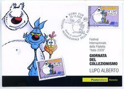 661> Cartolina LUPO ALBERTO = FDC Francobollo Giornata Del Collezionismo - Roma 23 OTTOBRE 2009 - Fumetti