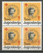 Yugoslavia,TBC 1974.,block Of Four,MNH - Unused Stamps