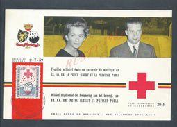 BELGIQUE FEUILLET OFFICIEL SOUVENIR MARIAGE PRINCE ALBERT & PRINCESSE PAOLA CROIX ROUGE 1959 : - Documentos Del Correo