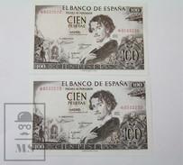 Spain/ España 2  Correlative Banknotes 100 Pesetas/ Ptas Q Series - 1965 - [ 3] 1936-1975 : Régimen De Franco