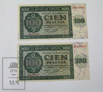 Spain/ España 2  Correlative Banknotes 100 Pesetas/ Ptas X Series  - Burgos 21 November 1936 - [ 3] 1936-1975 : Regency Of Franco
