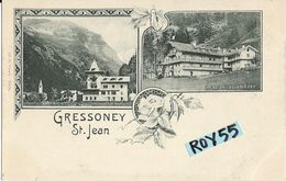 Val D'aosta-aosta-gressoney St.jean Vedute Villa Peccoz Pensione Dalpierre Primi 900 - Altre Città