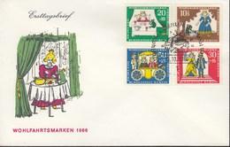 BERLIN 295-298, FDC, Wohlfahrt, Märchen: Der Froschkönig 1966 - Berlin (West)