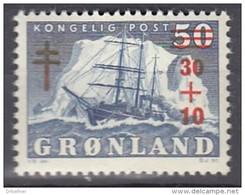 GRÖNLAND 40, Postfrisch **, Arktisschiff, Aufdruck: Kampf Gegen Die Tuberkulose 1958 - Ongebruikt