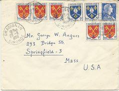 LETTRE 1958  POUR LES USA  AVEC 8 TIMBRES AUX TYPES MARIANNE DE MULLER/BLASONS - 1921-1960: Moderne