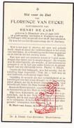 DP Florence Van Eecke ° Bikschote Langemark 1876 † Westvleteren Vleteren 1939 X H. DeCadt - Images Religieuses