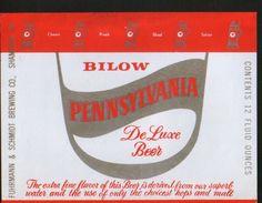 Bilow Pennsylvania De Luxe Beer, Shamokin Pennsylvania (U.S.A.), Beer Label From 60`s. - Bière
