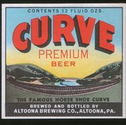 Curve Premium Beer, Altoona Pennsylvania (U.S.A.), Beer Label From 60`s. - Beer
