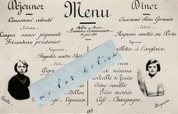 61 - BELLOU En HOULME - Menu Première Communion De Marguerite Et Cécile Du 11 Juin 1933 ( Format Cpa 9 Cm X 14 Cm ) - Menus