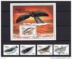 Antigua & Barbuda 1983 Whales MNH Mi.714-17 Bl.71 - Marine Life