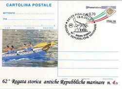 Italia 2017 Pisa 62^ Regata Storica Antiche Repubbliche Marinare Annullo Cartolina Postale Repiquage - Francobolli