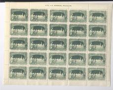 Exposition Internationale 1897 Bruxelles 5 Planches De 25 Timbres Lith. Goossens Bruxelles Erinnophilie - Ohne Zuordnung