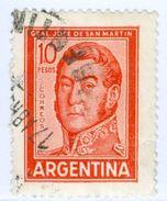 ARGENTINA, COMMEMORATIVO, GENERALE SAN MARTIN, 1966, FRANCOBOLLI USATI Yvert Tellier 732,  Scott 695C - Argentina