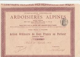 ACTION DE 100 FRANCS -COMPAGNIE GENERALE DES ARDOISIERES ALPINES  - ANNEE 1909 - Mines