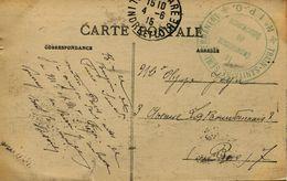 13560 - Guerre 14/18 - Militaria : TRAIN SANITAIRE SEMI-PERMANENT  * N° 1  P - O * Circulée En 1915 - 2 Cachets - Spoorwegen