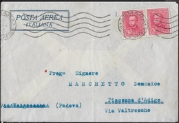 STORIA POSTALE COLONIE - ERITREA - BUSTA VIA AEREA 1936 COPPIA ORDINARIA CENT 75 - Eritrea