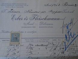 AV508.14  Invoice Faktura - Hungary  ARAD  -Erber és Fleischmann    1913 -Lántz Nándor - Temesszépfalu - Austria