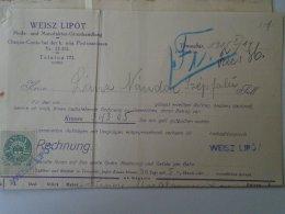 AV508A.2 Invoice Faktura - Leopold WEISZ  Temesvár  1913 - Revenue Stamp  - Temesszépfalu - Austria