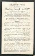 Faire Part De Décès - Mr N-J ANSAY Né à Jéhonville 1850 (Bertrix ) Décédé à Mont-Saint-Guibert 1915 - Overlijden