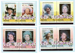 Nevis ** N° 311 à 318 - 85e Ann. De La Reine-mère Elizabeth - - Central America