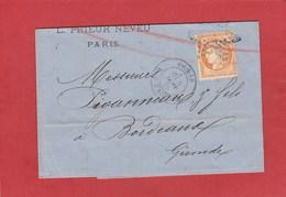 Cérès N°38 (YT) Sur LAC De Paris Vers Bordeaux 1875 - Postmark Collection (Covers)