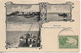 LIBERIA 1905 PC Monrovia Proceeding To Africa, On Shore In Bassa, Landing, Not Posted, 1 Stamp Cancelled, PC - Liberia