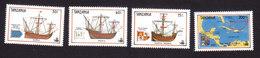 Tanzania, Scott #555-558, Mint Hinged, Discovery Of America, Issued 1990 - Tanzania (1964-...)